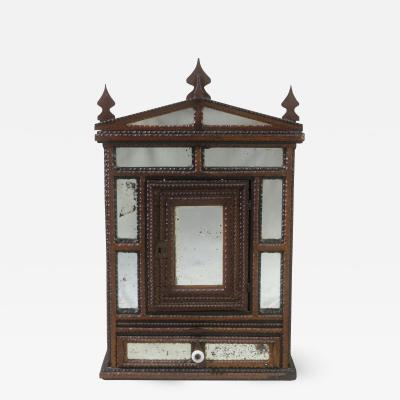 Small Tramp Art Wall cabinet with Inset Mirror