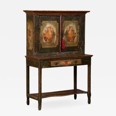 Small Vintage Two Door Hand Painted Cabinet