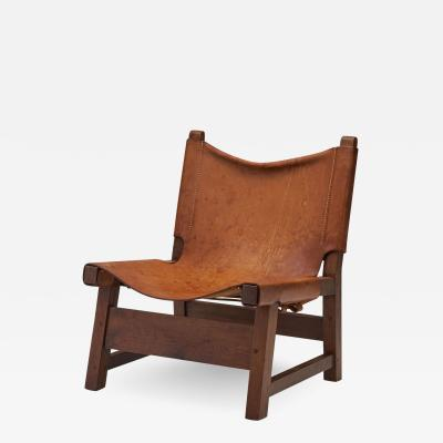 Small Wood and Leather Chair by a European Cabinetmaker Europe ca 1950s
