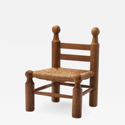 Small Wood and Wicker Chair by a European Cabinetmaker Europe ca 1950s