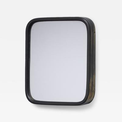 Small wall mirror with a brass frame Italy 1950s