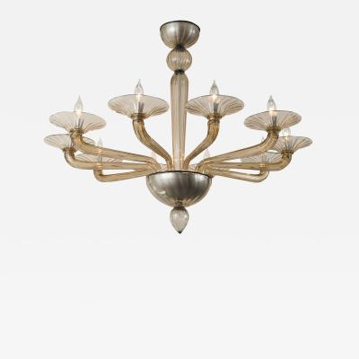 Smoke Blown Ten Arm Uplight Chandelier