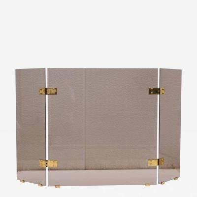 Smoked Glass And Brass Foliding Fireplace Screen