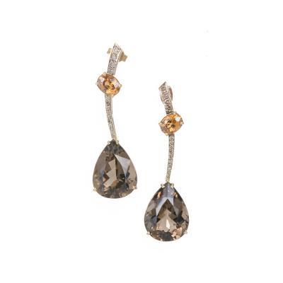 Smoky Quartz Citrine Diamond Gold Dangle Drop Earrings