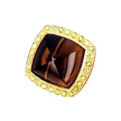 Smoky Quartz and Sapphire 18 Karat Yellow Gold Ring