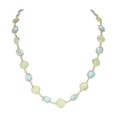 Smooth Blue Topaz and Green Prehnite Double Cabochon 18K Yellow Gold Necklace
