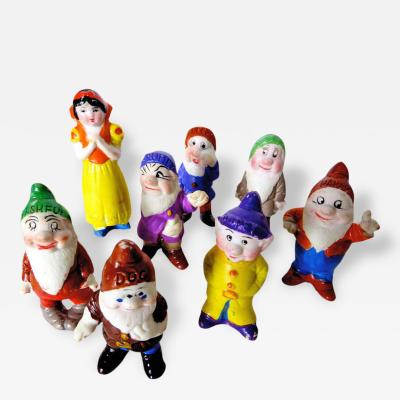 Snow White and The Seven Dwarfs Bisque Figures Play Set Circa 1938