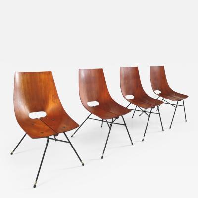 Societ Compensati Curvati Set of Four Dining Chairs by SCC Societ Compensati Curvati Monza Italy 1955
