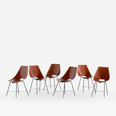Societ Compensati Curvati Set of Six Plywood Dining Chairs by Societ Compensati Curvati Italy 1959