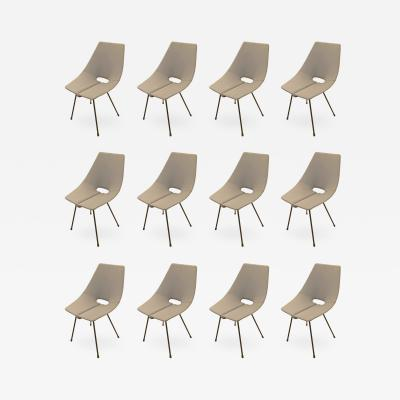 Societ Compensati Curvati Set of Twelve Mid Century Wood Dining Chairs by SCC