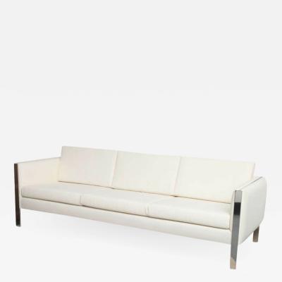 Sofa Muslin Upholstery in Milo Baughman Style