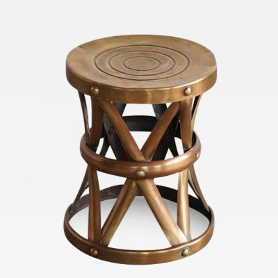 Solid Brass Drum Stool or Table or Plant Stand