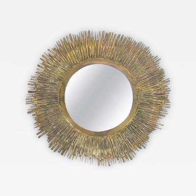 Solid Brass Sunburst Mid Century Mirror