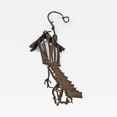 Solid Cast Bronze Brutalist Tree House Sculpture