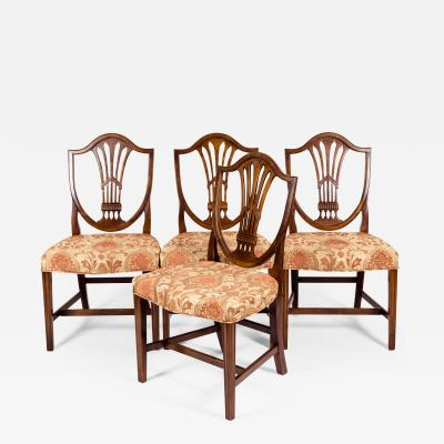 Solid Mahogany Wood Shield Back Dining Chair Set