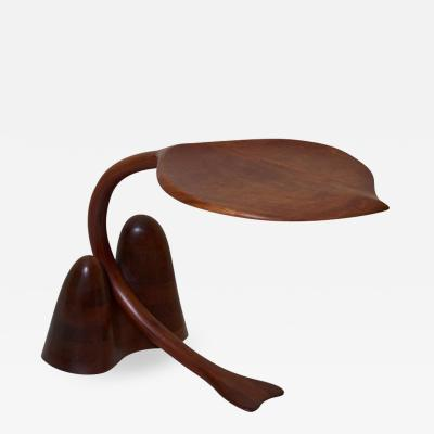 Solid Walnut Studio Side Table in Leaf Shape USA 1970s
