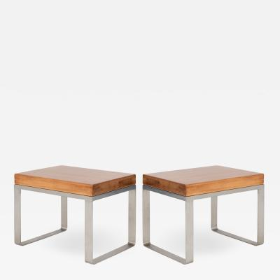 Solid Wood Accent Bench Tables with Steel Bases Pair