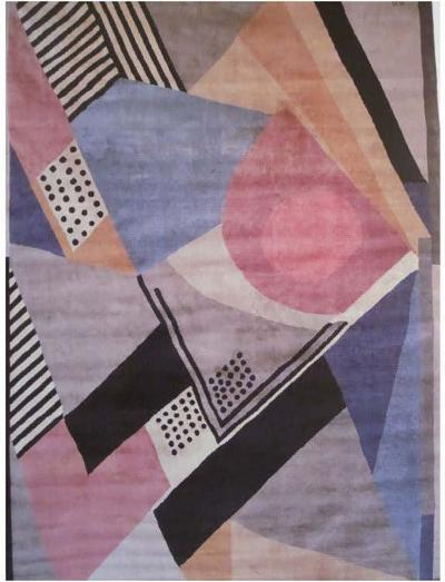 Sonia Delaunay French Mid Century Modern Cubist Art Deco 1930 Carpet by Sonia Delaunay