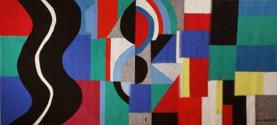Sonia Delaunay Monumental modern tapestry designed and signed by Sonia Delaunay Serpent Noir