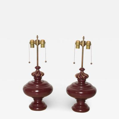 Sophisticated Lamp Pair Burgundy Blonde Mahogany Laced with Gold 1950s Italy