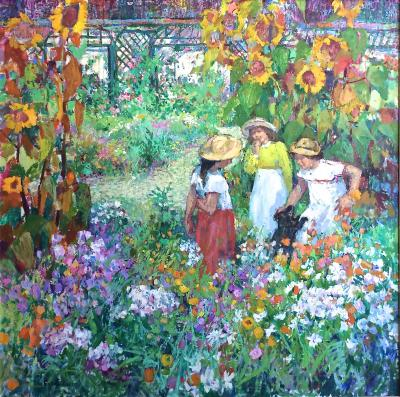 Sotiris Corzo Children In Sunflower Garden