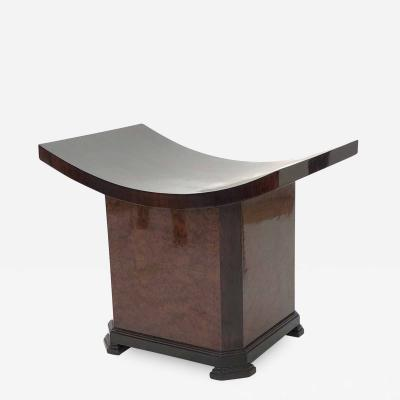 Soubrier Maison Soubrier rare Art deco pagoda stool in makassar top and thuya burl base