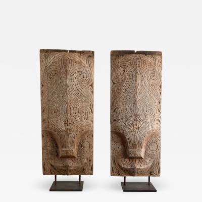 South Pacific Tribal Wood Plaques A Pair