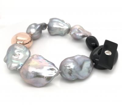 South Sea Baroque Pearl and Rose Gold with Bakelite Security Clasp