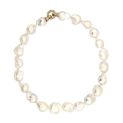 South Sea Baroque Pearl with Yellow gold and diamond Necklace