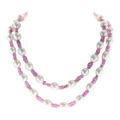 South Sea Pearl Pink Sapphire and Diamond and Gold Roundels Necklace