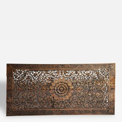 Southeast Asian Rectangular Carved Flower Panel