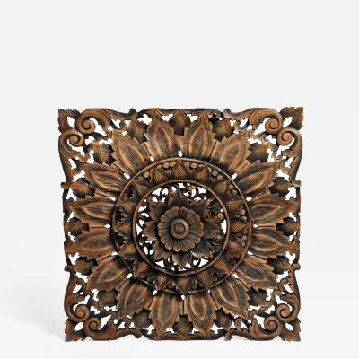 Southeast Asian Square Carved Flower Panel