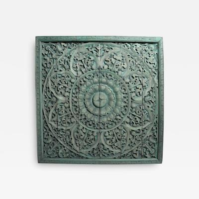 Southeast Asian Wood Carved Flower Panel