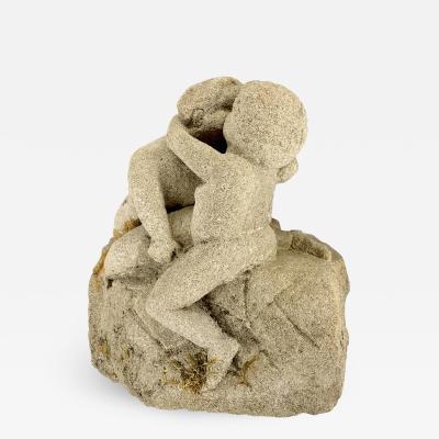 Southern Folk Art Limestone Carving of a Kissing Couple