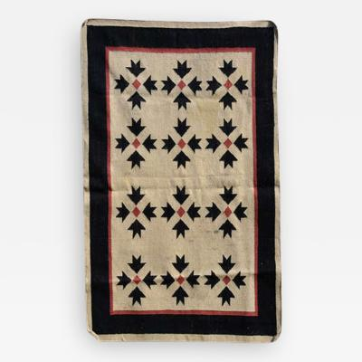 Southwest Art Wall Hanging Handwoven Tapestry in Cream Red and Black 1970s