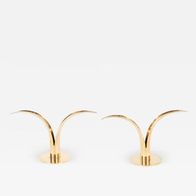 Sowe Konst Pair of Mid Century Modern Polished Brass Lily Candleholders by Konst of Sweden