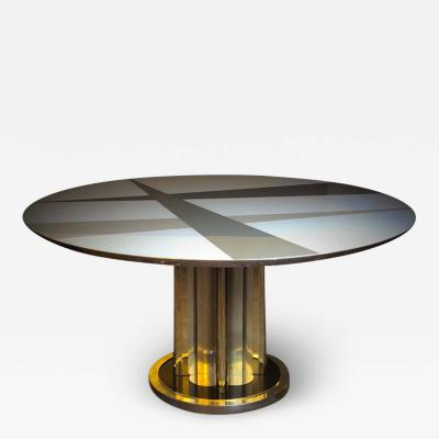 Space Age Round Table Murano Glass Top and Aluminum Brass and Wood Pedestal