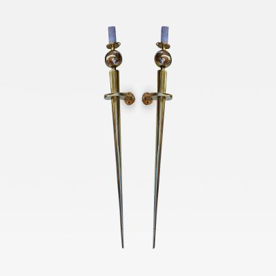Spade shaped pair of awesome solid bronze sconces
