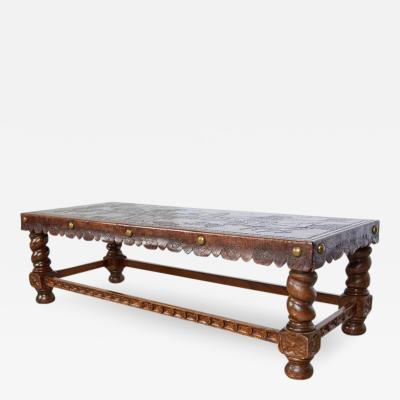 Spanish Baroque Tooled Leather Bench or Coffee Table Colonial Missionary Scene