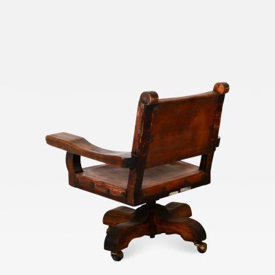 Spanish Colonial Mexican Mahogany Leather Office Rolling Chair Francisco Artigas