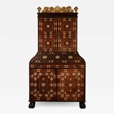Spanish Colonial inlaid bureau cabinet Mexico partially 18th century