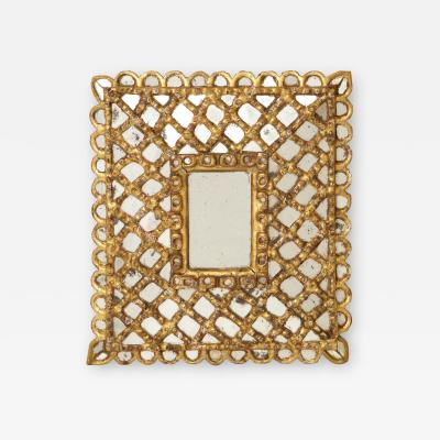 Spanish Gilded and Carved Petite Wood Mirror