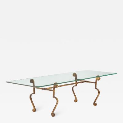 Spanish Gilt Metal and Glass Coffee Table
