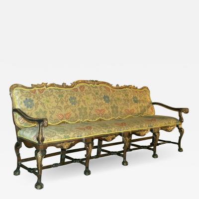 Spanish Portuguese 18th Century Rococo Open Arm Sofa Settee
