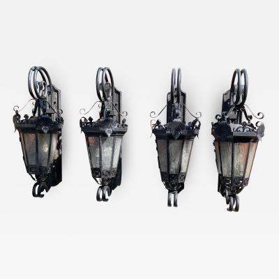 Spanish Style Wrought Iron Sconces Set of 4