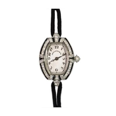 Spaulding Co Art Deco Diamond and Onyx Watch with Cord Band Spaulding Co Swiss Movement