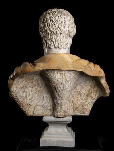 Specimen Marble Yellow and White Sculpture Bust Roman Emperor Septimius Severus