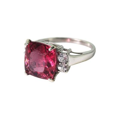 Spectacular 6 8 Ct Brasilian Rubelite Sterling Silver Cocktail Ring