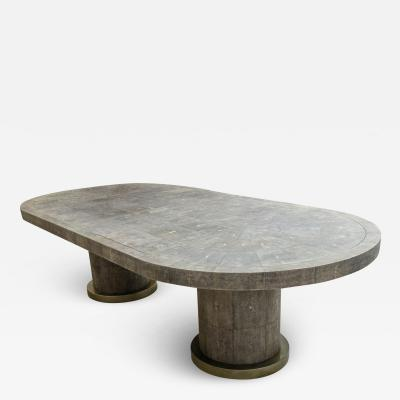 Spectacular 9 foot Black Shagreen Dining Table by Ron Seff