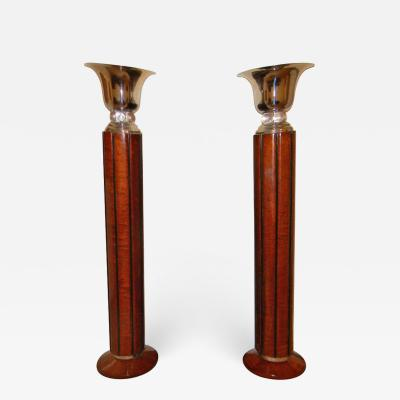 Spectacular Art Deco Floor lamps torchieres two tone wood